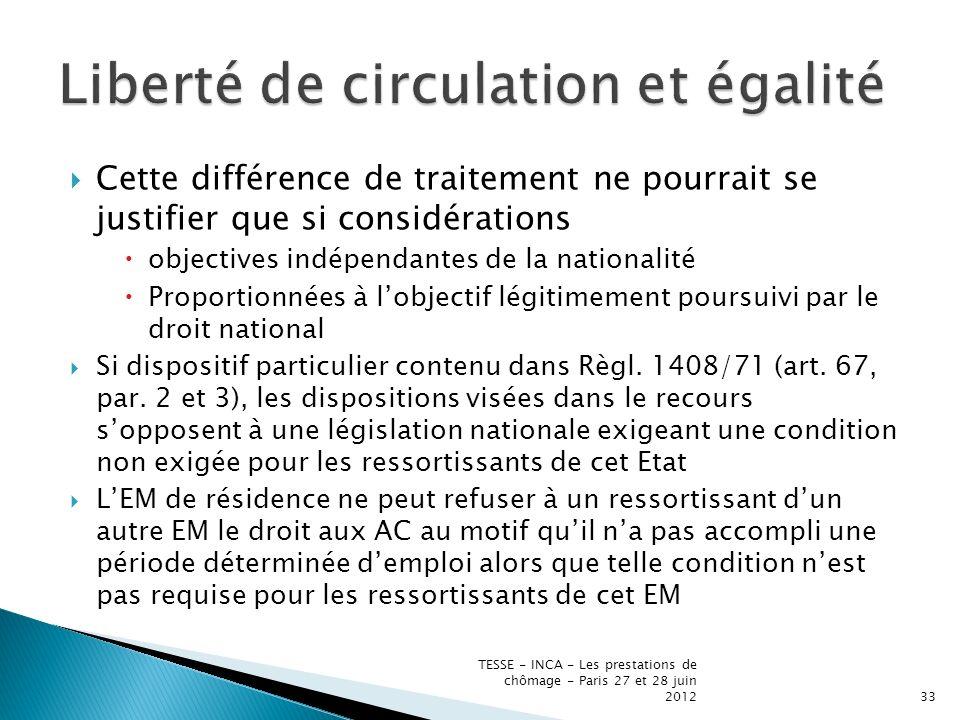 Cette différence de traitement ne pourrait se justifier que si considérations objectives indépendantes de la nationalité Proportionnées à lobjectif légitimement poursuivi par le droit national Si dispositif particulier contenu dans Règl.