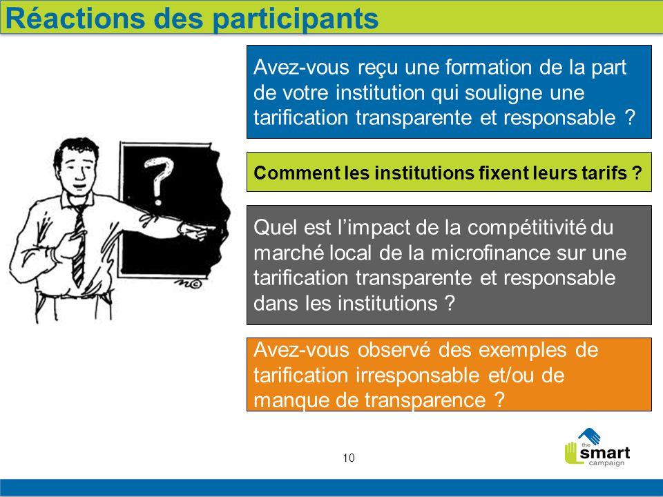 10 Réactions des participants Avez-vous reçu une formation de la part de votre institution qui souligne une tarification transparente et responsable ?