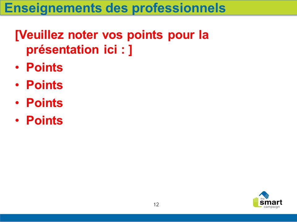 12 [Veuillez noter vos points pour la présentation ici : ] Points Enseignements des professionnels
