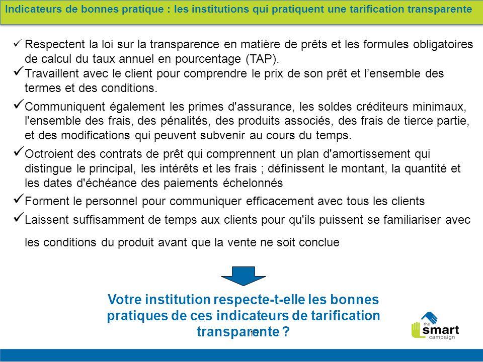 13 Respectent la loi sur la transparence en matière de prêts et les formules obligatoires de calcul du taux annuel en pourcentage (TAP). Travaillent a
