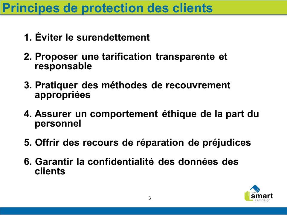 3 1. Éviter le surendettement 2. Proposer une tarification transparente et responsable 3. Pratiquer des méthodes de recouvrement appropriées 4. Assure