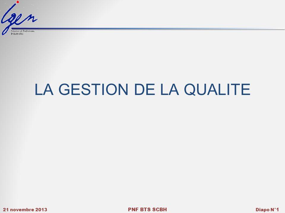 21 novembre 2013 PNF BTS SCBH Diapo N° 1 LA GESTION DE LA QUALITE
