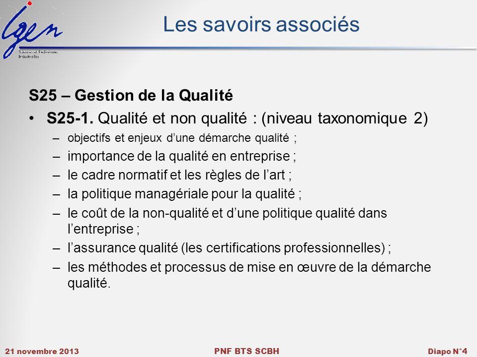 21 novembre 2013 PNF BTS SCBH Diapo N° 4 Les savoirs associés S25 – Gestion de la Qualité S25-1.