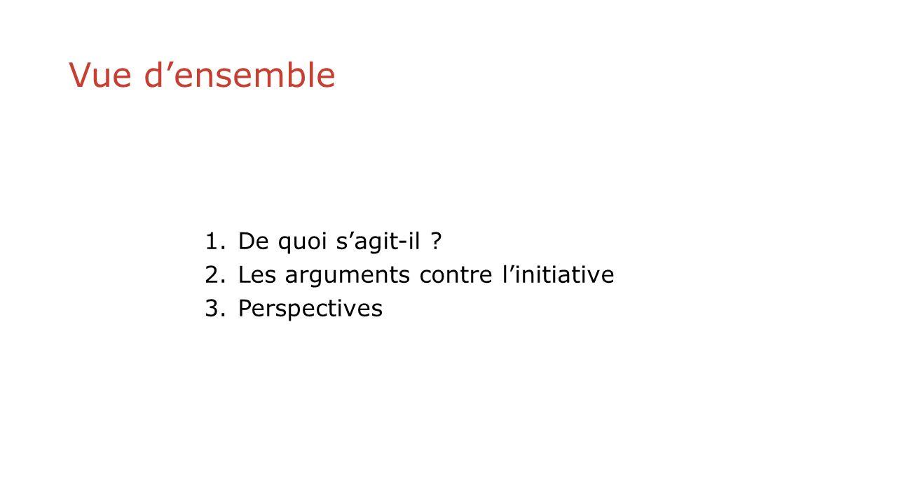 Vue densemble 1.De quoi sagit-il 2.Les arguments contre linitiative 3.Perspectives