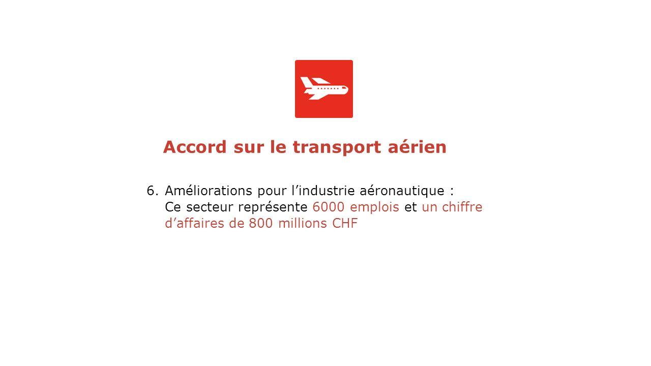 6.Améliorations pour lindustrie aéronautique : Ce secteur représente 6000 emplois et un chiffre daffaires de 800 millions CHF Accord sur le transport aérien