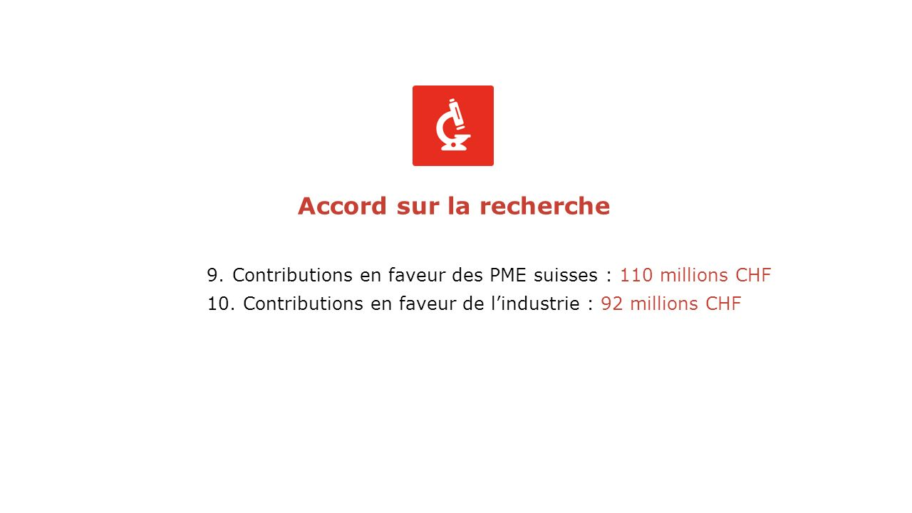 9.Contributions en faveur des PME suisses : 110 millions CHF 10.