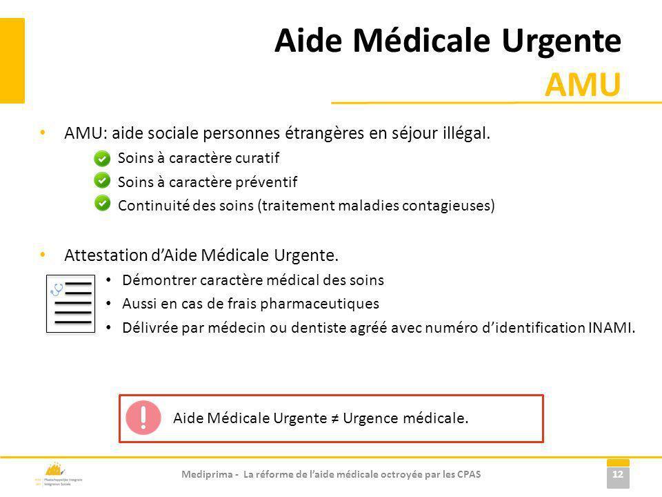 Aide Médicale Urgente AMU AMU: aide sociale personnes étrangères en séjour illégal. Soins à caractère curatif Soins à caractère préventif Continuité d