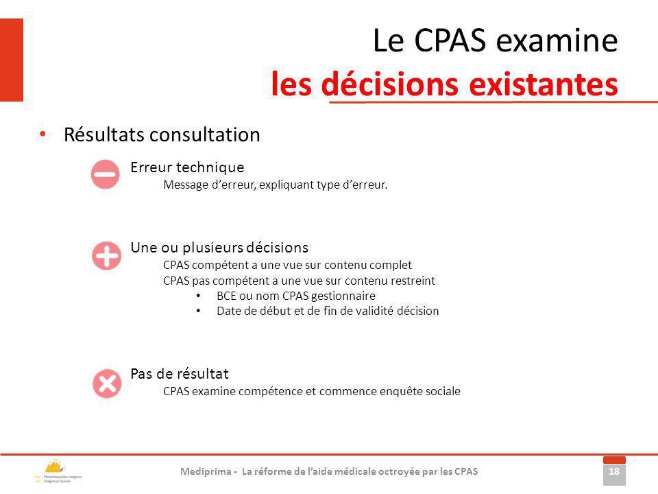Le CPAS examine les décisions existantes Résultats consultation 18 Mediprima - La réforme de laide médicale octroyée par les CPAS Pas de résultat CPAS