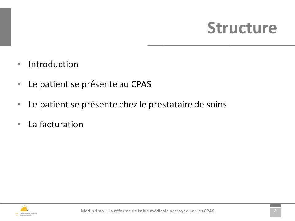2 Mediprima - La réforme de laide médicale octroyée par les CPAS Introduction Le patient se présente au CPAS Le patient se présente chez le prestatair