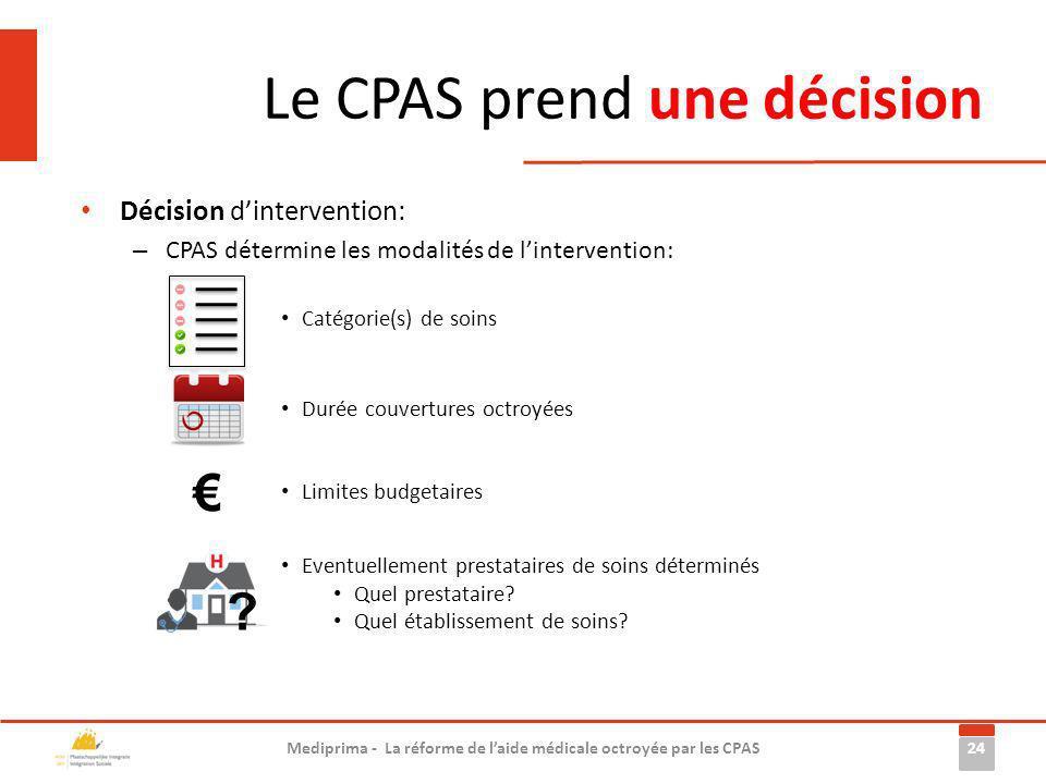 Le CPAS prend une décision 24 Mediprima - La réforme de laide médicale octroyée par les CPAS Décision dintervention: – CPAS détermine les modalités de