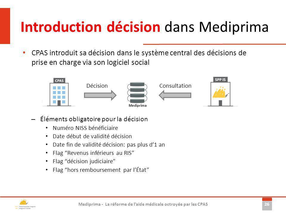 Introduction décision dans Mediprima – Éléments obligatoire pour la décision Numéro NISS bénéficiaire Date début de validité décision Date fin de vali