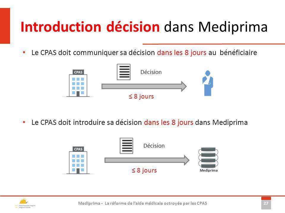 Introduction décision dans Mediprima 27 Mediprima - La réforme de laide médicale octroyée par les CPAS Le CPAS doit communiquer sa décision dans les 8