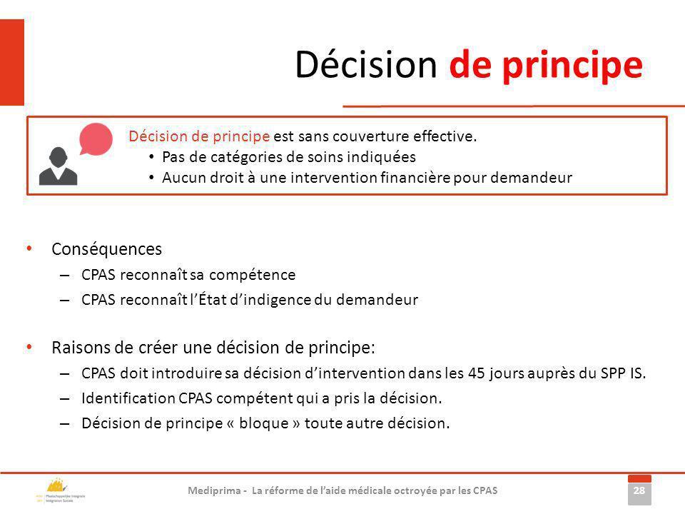 Décision de principe 28 Mediprima - La réforme de laide médicale octroyée par les CPAS Décision de principe est sans couverture effective. Pas de caté