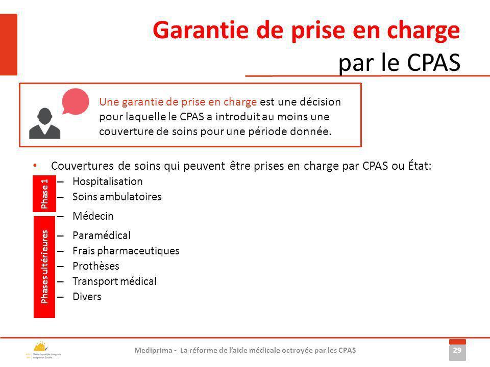 Garantie de prise en charge par le CPAS 29 Mediprima - La réforme de laide médicale octroyée par les CPAS Une garantie de prise en charge est une déci
