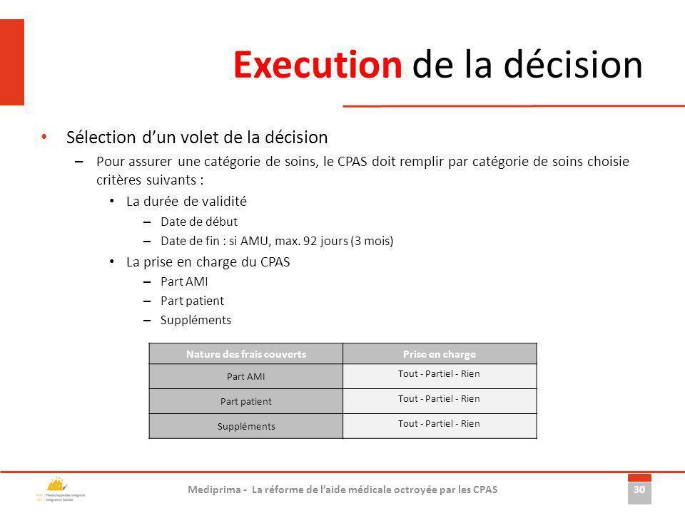 Execution de la décision Sélection dun volet de la décision – Pour assurer une catégorie de soins, le CPAS doit remplir par catégorie de soins choisie