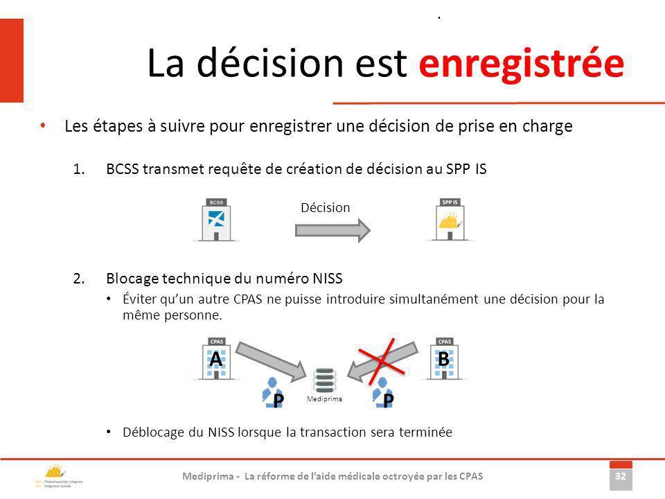 La décision est enregistrée Les étapes à suivre pour enregistrer une décision de prise en charge 1.BCSS transmet requête de création de décision au SP