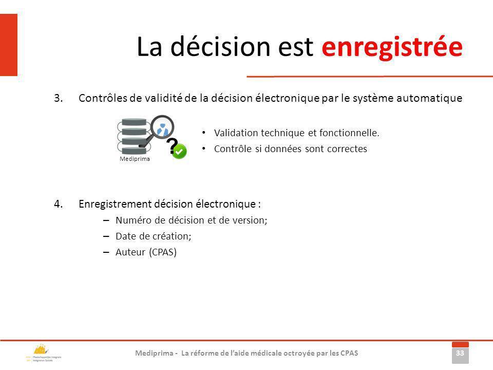 La décision est enregistrée 3.Contrôles de validité de la décision électronique par le système automatique 4.Enregistrement décision électronique : –
