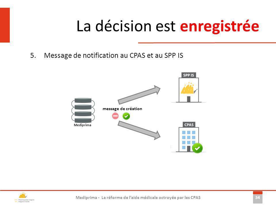 La décision est enregistrée 5.Message de notification au CPAS et au SPP IS 34 Mediprima - La réforme de laide médicale octroyée par les CPAS Mediprima