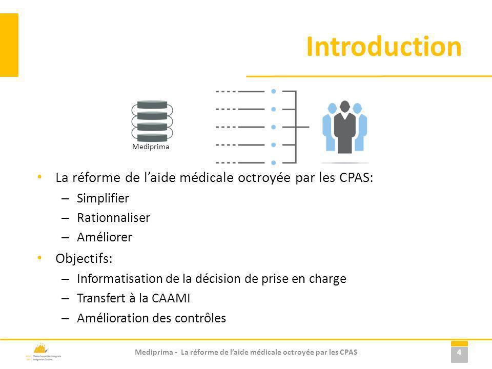 Introduction La réforme de laide médicale octroyée par les CPAS: – Simplifier – Rationnaliser – Améliorer Objectifs: – Informatisation de la décision