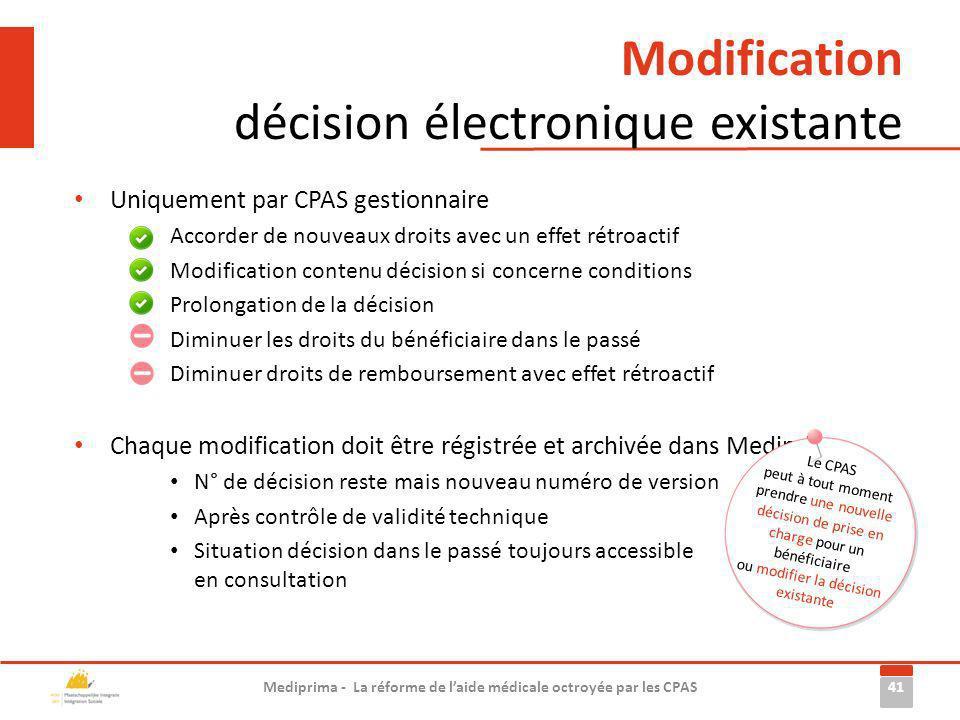 Uniquement par CPAS gestionnaire Accorder de nouveaux droits avec un effet rétroactif Modification contenu décision si concerne conditions Prolongatio