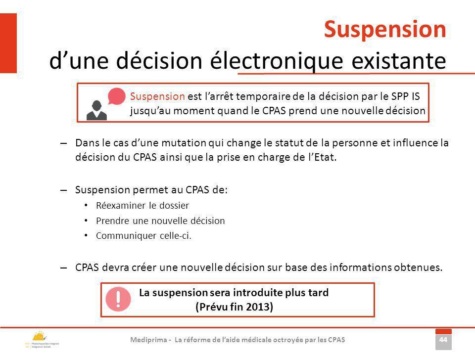 – Dans le cas dune mutation qui change le statut de la personne et influence la décision du CPAS ainsi que la prise en charge de lEtat. – Suspension p