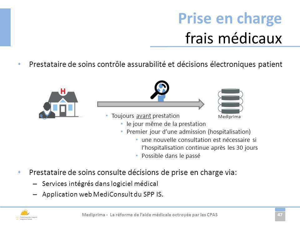 47 Prise en charge frais médicaux Prestataire de soins contrôle assurabilité et décisions électroniques patient Prestataire de soins consulte décision