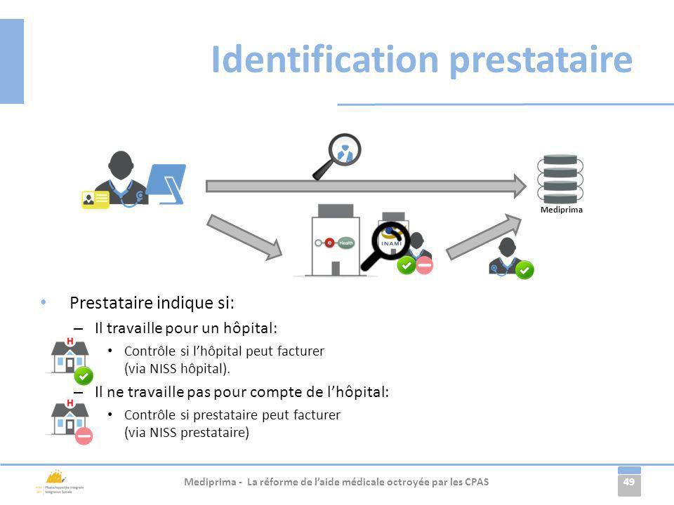 49 Identification prestataire Prestataire indique si: – Il travaille pour un hôpital: Contrôle si lhôpital peut facturer (via NISS hôpital). – Il ne t