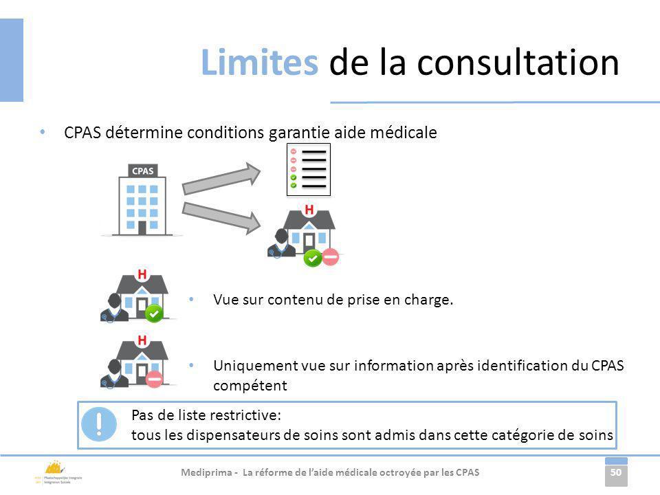 50 CPAS détermine conditions garantie aide médicale Limites de la consultation Mediprima - La réforme de laide médicale octroyée par les CPAS Uniqueme
