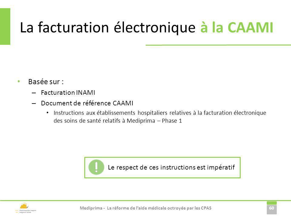 La facturation électronique à la CAAMI Basée sur : – Facturation INAMI – Document de référence CAAMI Instructions aux établissements hospitaliers rela