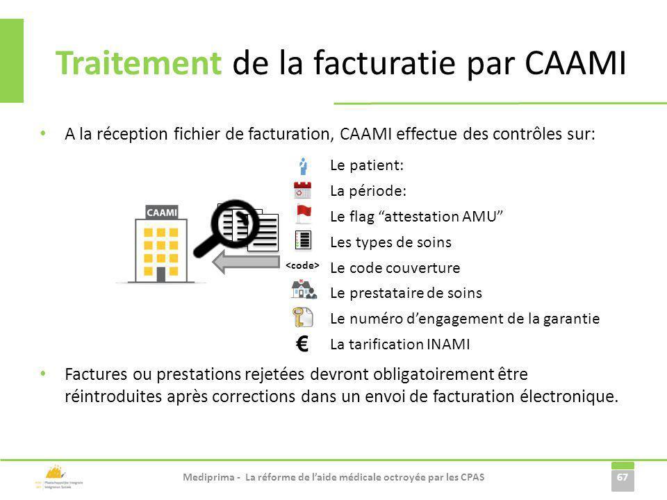 A la réception fichier de facturation, CAAMI effectue des contrôles sur: Factures ou prestations rejetées devront obligatoirement être réintroduites a
