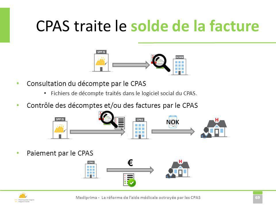 Consultation du décompte par le CPAS Fichiers de décompte traités dans le logiciel social du CPAS. 69 CPAS traite le solde de la facture Mediprima - L