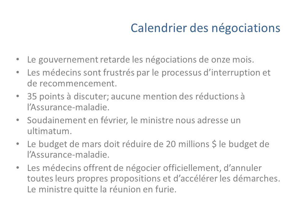 Calendrier des négociations Le gouvernement retarde les négociations de onze mois. Les médecins sont frustrés par le processus dinterruption et de rec