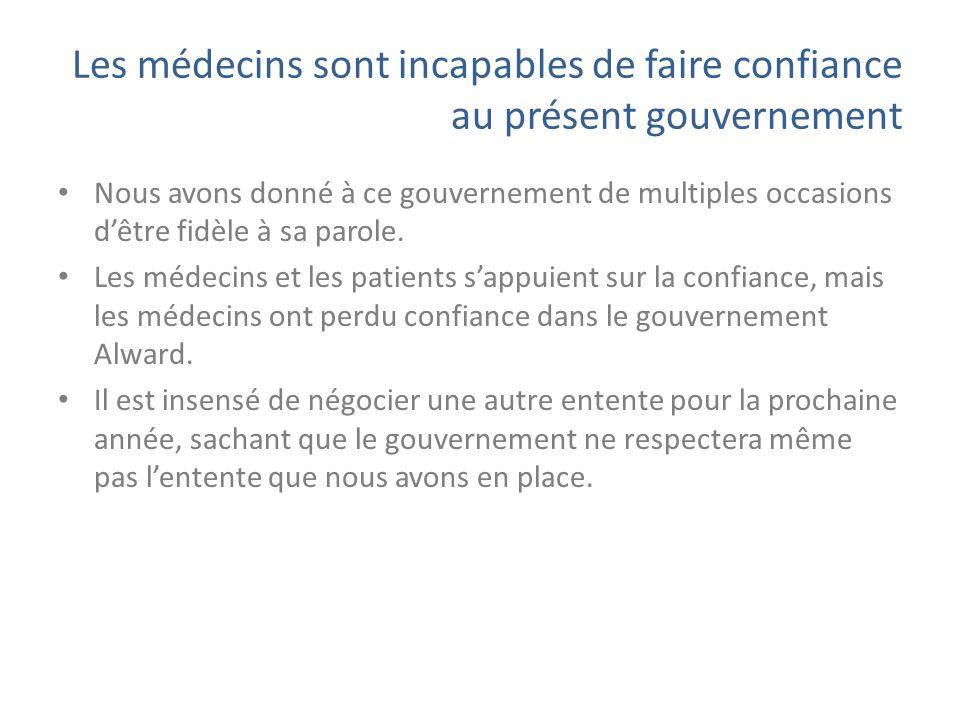 Les médecins sont incapables de faire confiance au présent gouvernement Nous avons donné à ce gouvernement de multiples occasions dêtre fidèle à sa parole.