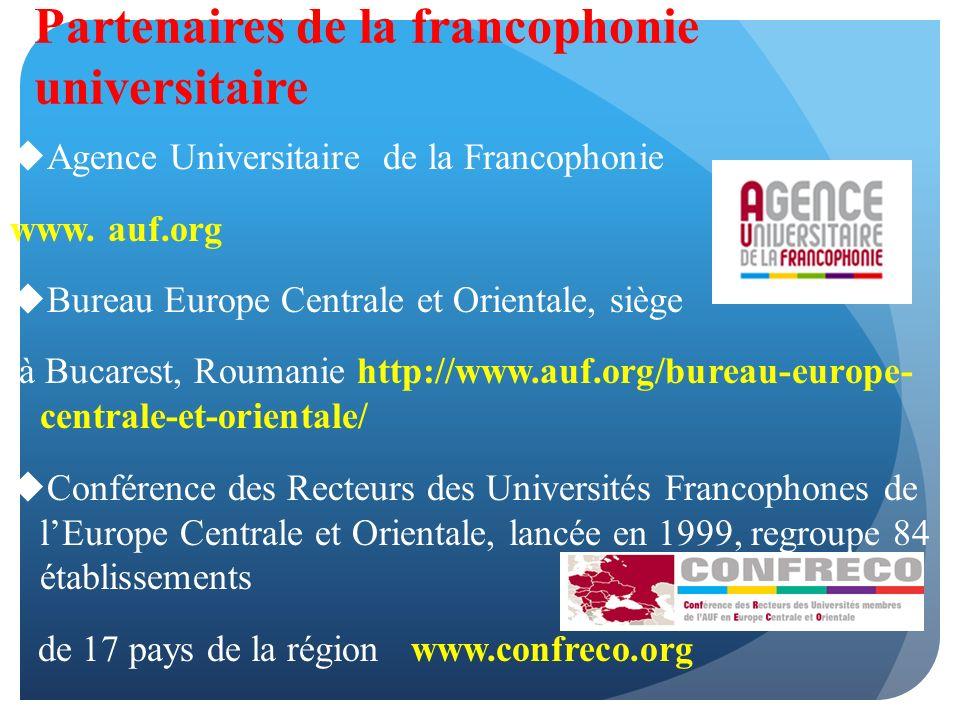 Partenaires de la francophonie universitaire Agence Universitaire de la Francophonie www.