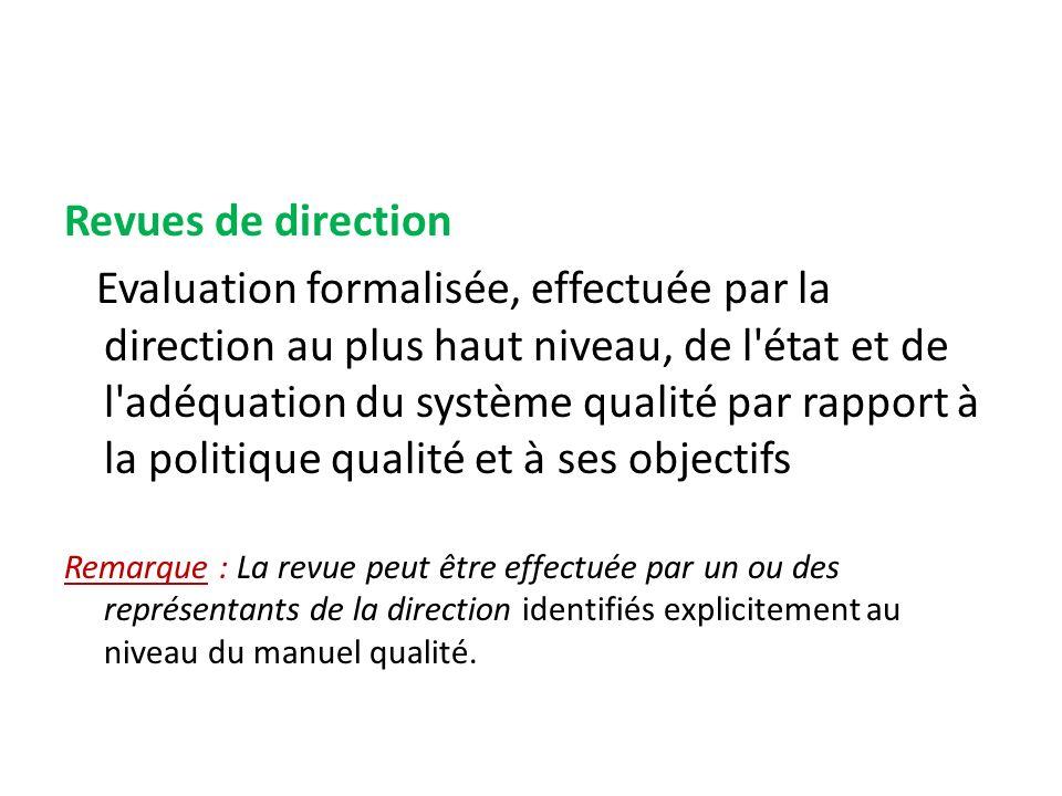 Revues de direction Evaluation formalisée, effectuée par la direction au plus haut niveau, de l'état et de l'adéquation du système qualité par rapport