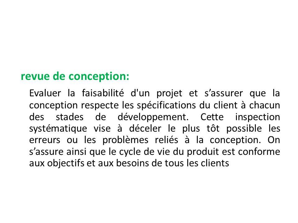 revue de conception: Evaluer la faisabilité d'un projet et sassurer que la conception respecte les spécifications du client à chacun des stades de dév