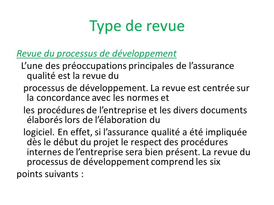 Type de revue Revue du processus de développement Lune des préoccupations principales de lassurance qualité est la revue du processus de développement