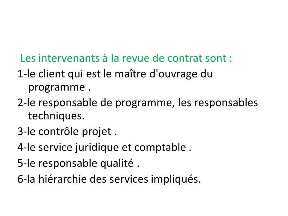 Les intervenants à la revue de contrat sont : 1-le client qui est le maître d'ouvrage du programme. 2-le responsable de programme, les responsables te