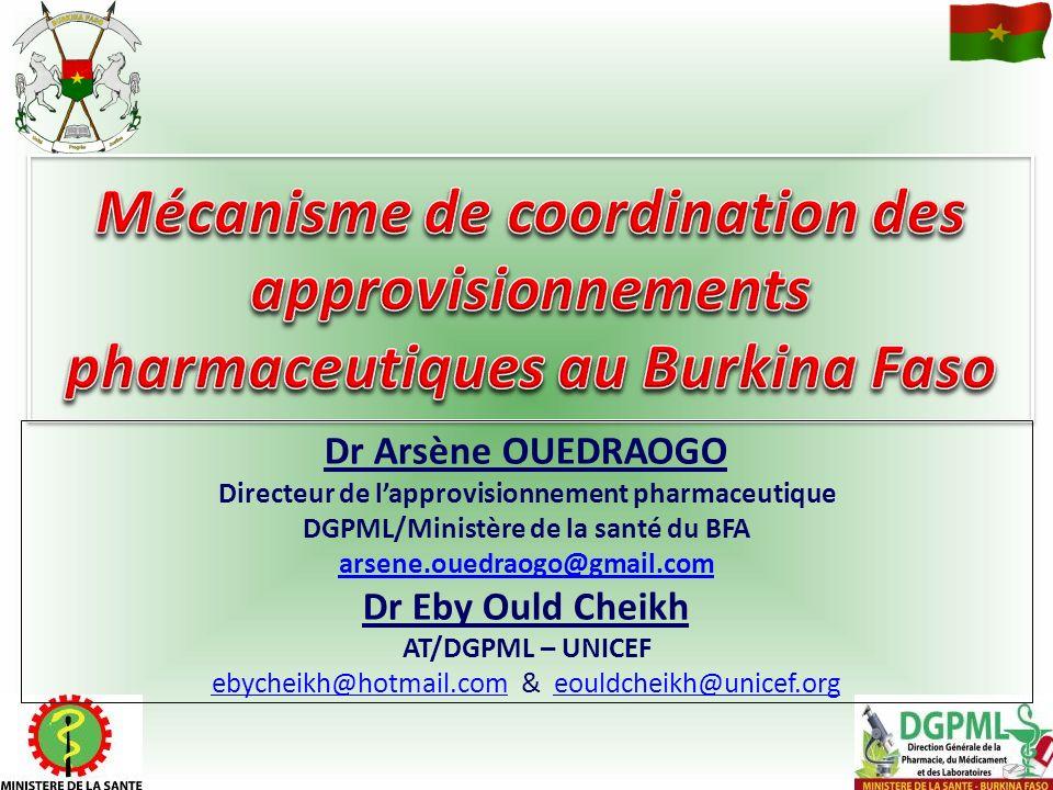 Dr Arsène OUEDRAOGO Directeur de lapprovisionnement pharmaceutique DGPML/Ministère de la santé du BFA arsene.ouedraogo@gmail.com Dr Eby Ould Cheikh AT