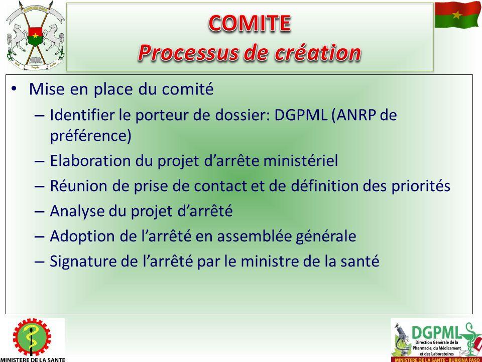Mise en place du comité – Identifier le porteur de dossier: DGPML (ANRP de préférence) – Elaboration du projet darrête ministériel – Réunion de prise