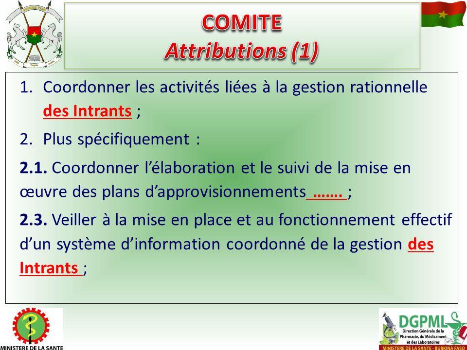 1.Coordonner les activités liées à la gestion rationnelle des Intrants ; 2.Plus spécifiquement : 2.1. Coordonner lélaboration et le suivi de la mise e