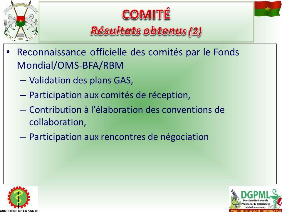 Reconnaissance officielle des comités par le Fonds Mondial/OMS-BFA/RBM – Validation des plans GAS, – Participation aux comités de réception, – Contrib