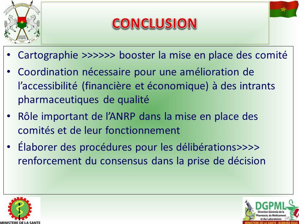 Cartographie >>>>>> booster la mise en place des comité Coordination nécessaire pour une amélioration de laccessibilité (financière et économique) à d