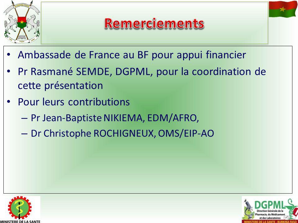 Ambassade de France au BF pour appui financier Pr Rasmané SEMDE, DGPML, pour la coordination de cette présentation Pour leurs contributions – Pr Jean-