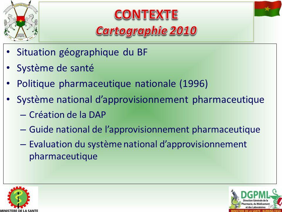 Situation géographique du BF Système de santé Politique pharmaceutique nationale (1996) Système national dapprovisionnement pharmaceutique – Création