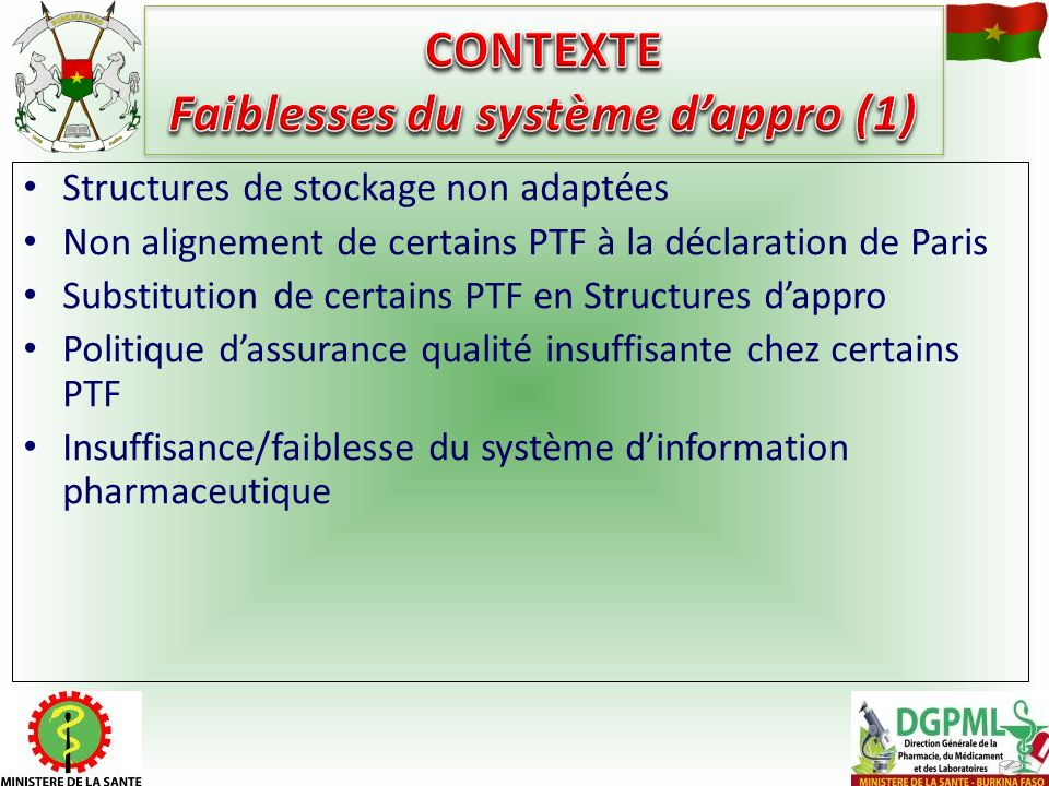 Structures de stockage non adaptées Non alignement de certains PTF à la déclaration de Paris Substitution de certains PTF en Structures dappro Politiq