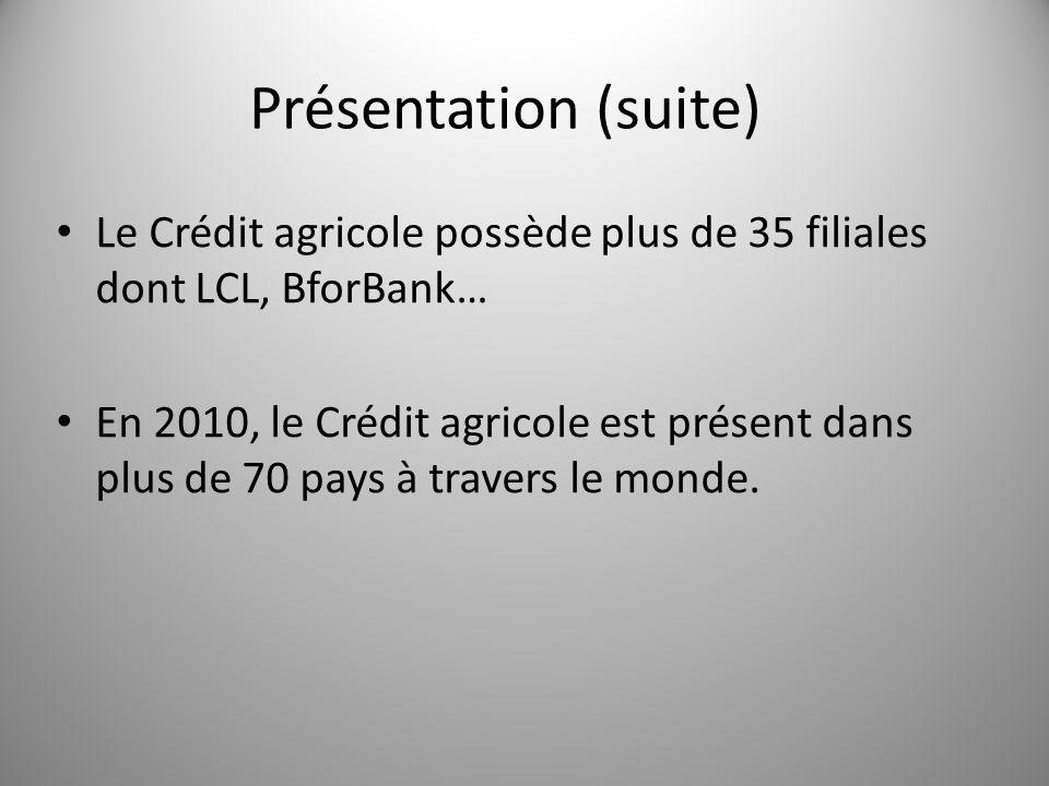 Le Crédit agricole possède plus de 35 filiales dont LCL, BforBank… En 2010, le Crédit agricole est présent dans plus de 70 pays à travers le monde. Pr