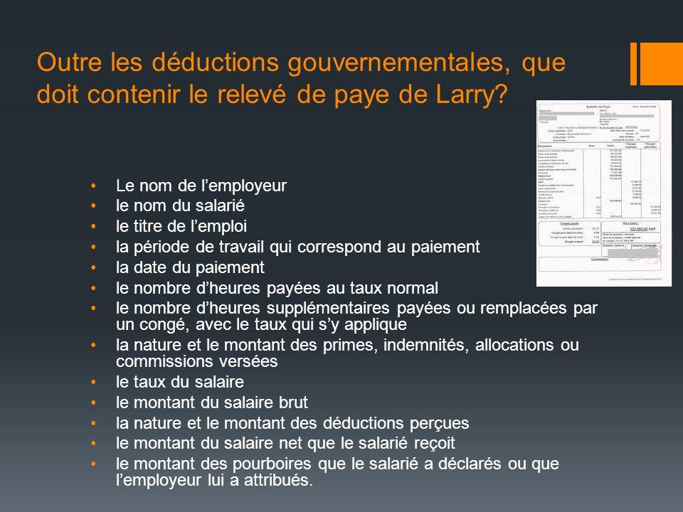 Outre les déductions gouvernementales, que doit contenir le relevé de paye de Larry? Le nom de lemployeur le nom du salarié le titre de lemploi la pér