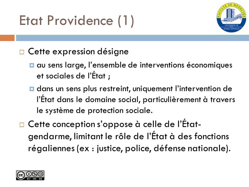 Etat Providence (1) Cette expression désigne au sens large, lensemble de interventions économiques et sociales de lÉtat ; dans un sens plus restreint,