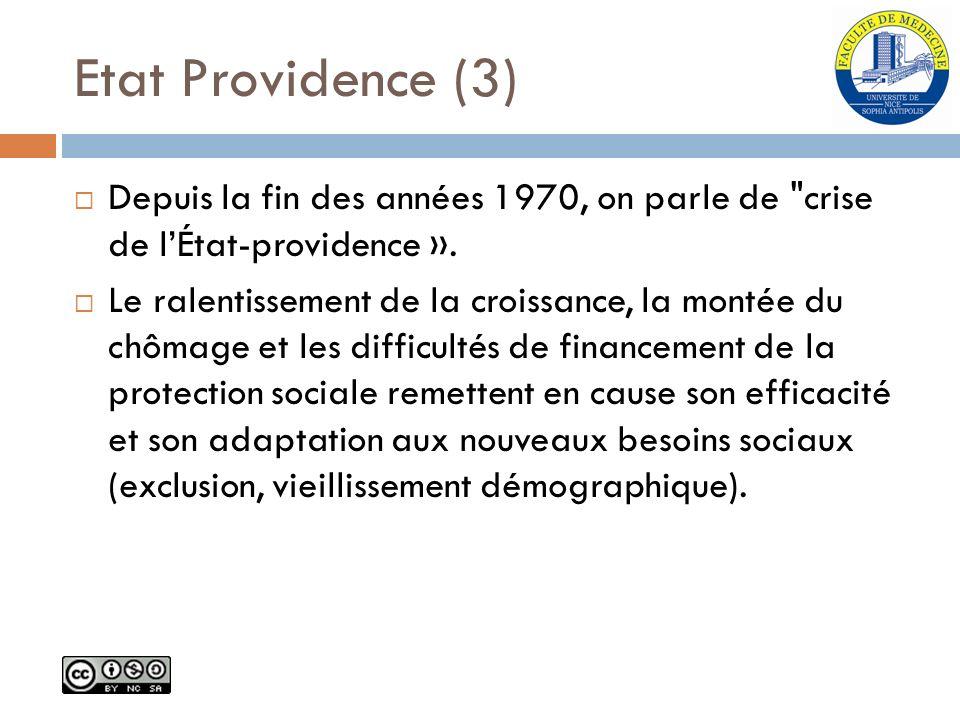 Etat Providence (3) Depuis la fin des années 1970, on parle de